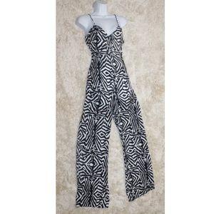 Zara Zebra Striped Print Jumpsuit Romper Size S